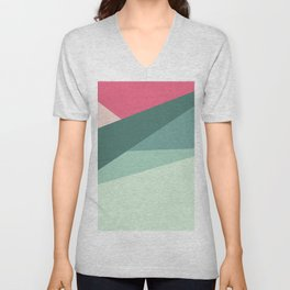 Modern abstract pastel pink green geometrical colorblock Unisex V-Neck