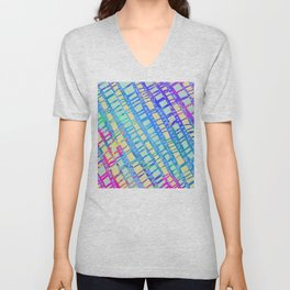 Sunny Summer Vibes Textures and Lines Pattern Unisex V-Neck