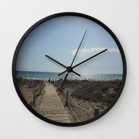 boardwalk empire Wall Clocks featuring Boardwalk by Tasha Saussey