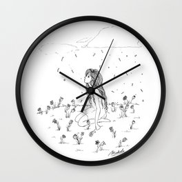 Paper Flowers Wall Clock
