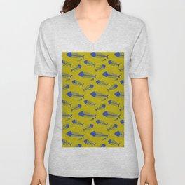 Ogre yellow & Blue fish skeleton pattern Unisex V-Neck