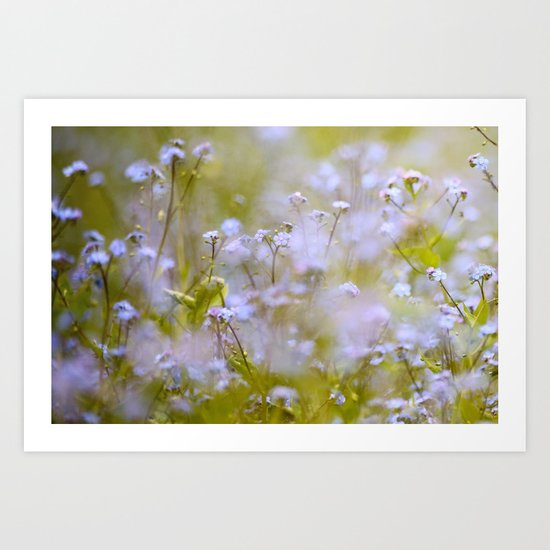 Forget-me-nots On a Windy Day Art Print