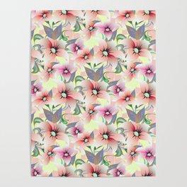 Elegant pink coral modern floral botanical illustration Poster