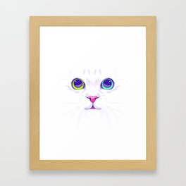 White cute cat Framed Art Print