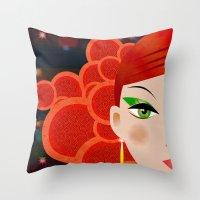 fierce Throw Pillows featuring Fierce. by Jonny Bateau