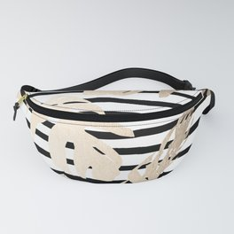 Simply Tropical White Gold Sands Palm Leaves on Stripes Fanny Pack