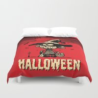 pumpkin Duvet Covers featuring Halloween pumpkin girl by mangulica illustrations