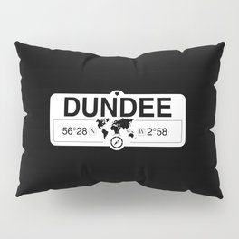 Dundee Scotland with World Map GPS Coordinates and Compass Pillow Sham