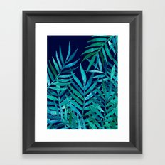 Watercolor Palm Leaves on Navy Framed Art Print