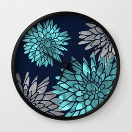 Floral Chrysanthemum Modern Navy Aqua Wall Clock