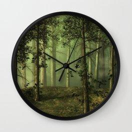 Fantasy Fog Forest Wall Clock