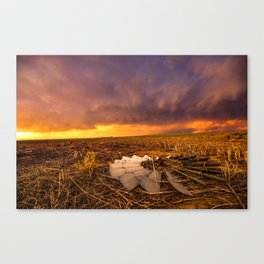 Lost In Time - Broken Windmill and Stormy Sky in Kansas Canvas Print