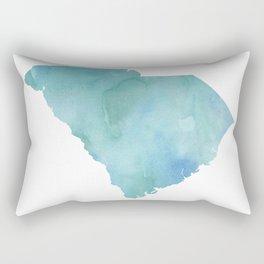 Watercolor State Map - South Carolina SC blue greens Rectangular Pillow