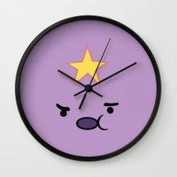 lumpy space princess Wall Clocks featuring Lumpy princess by OverClocked