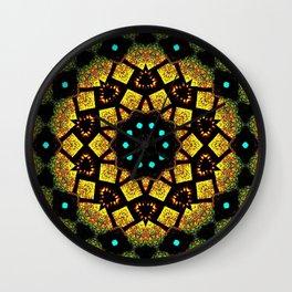 Bright Yellow Mosaic Symmetry Mandala Wall Clock