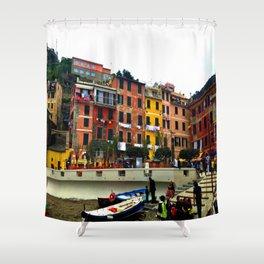 Cinque Terre, Italy Harbor in Riomaggiore/Vernazza Shower Curtain