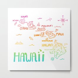 Hawaii Illustrated Map Rainbow Color Metal Print