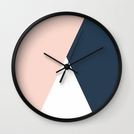 Elegant blush pink & navy blue geometric triangles Wall Clock