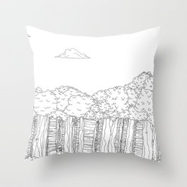 BigFoot Forest (Black and White) Throw Pillow