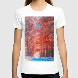 Autumn forest in mist path T-shirt