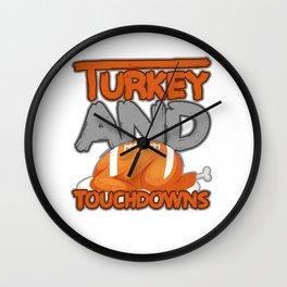 Thanksgiving Day Turkey Football Gift for Fall Dark Light Wall Clock