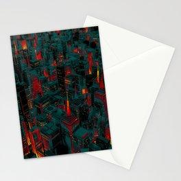 Night city glow cartoon Stationery Cards