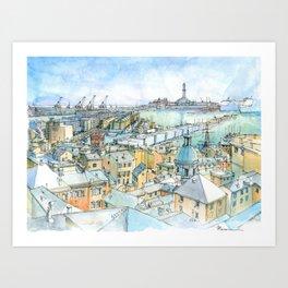 Il Porto (view of Genoa) Art Print
