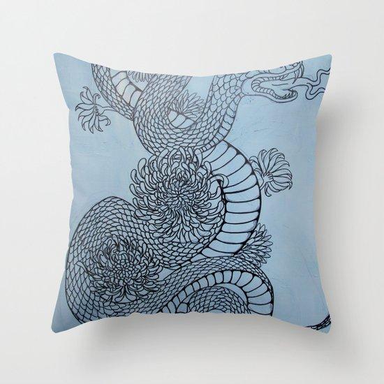 snake in the garden Throw Pillow
