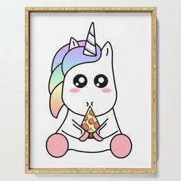 Cute Funny Kawaii Unicorn Eating Pizza Slice Magical Rainbow Serving Tray
