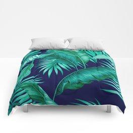 HAWAIIAN GARDEN TROPICAL LEAVES | turquoise navy Comforters