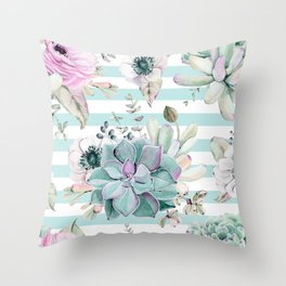 Succulent Garden Striped Succulent Blue Throw Pillow