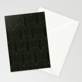 Art Deco Arch Pattern I Black & Neutral Green Stationery Cards
