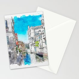 Aquarelle sketch art. Typical canals with old houses Venice Stationery Cards