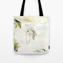 Misty Morning Surf Tote Bag