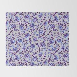 Watercolor Peonies - Periwinkle Throw Blanket