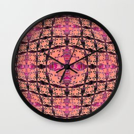 Goth Boho Cross in Coral and Magenta Wall Clock