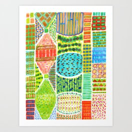 Colorful geometric Patchwork Garden Art Print