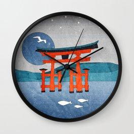 Japanese Shinto at Evening Wall Clock