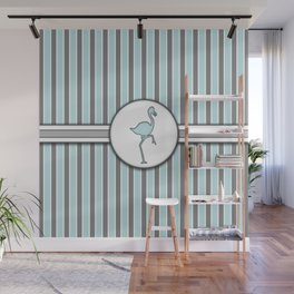 Blue Flamingo Stripes Pattern Design Wall Mural