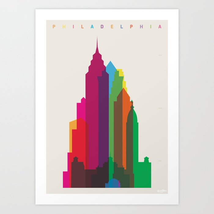 Shapes of Philadelphia accurate to scale Art Print