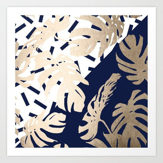 Simply Tropical Nautical Navy Memphis Palm Leaves Art Print
