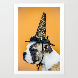 Beautiful Profile of a Bulldog Wearing a Witch Hat for Halloween Art Print
