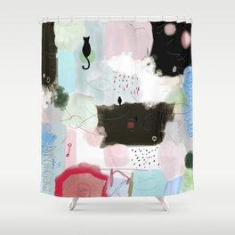 Peinture tons pastels chat oiseau bulles abstrait moderne Shower Curtain