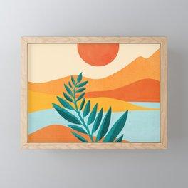 Mountain Sunset / Abstract Landscape Illustration Framed Mini Art Print