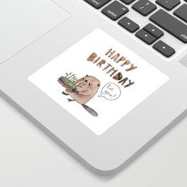 Happy birthday beaver Sticker