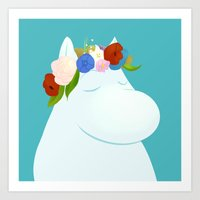 moomin Art Prints featuring Moomin by Patayoh