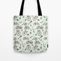 bicycles Tote Bags featuring Retro Bicycles  by pakowacz