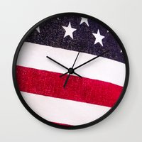 america Wall Clocks featuring America by Mary Timman