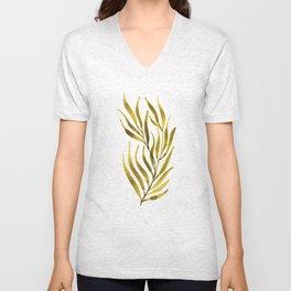 Olive Green Watercolour Branch Unisex V-Neck