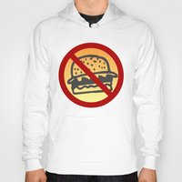 junk food Hoodies featuring No Junk Food Zone by Geni